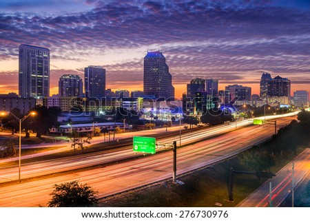 Orlando, Florida, USA skyline over the highway. - stock photo