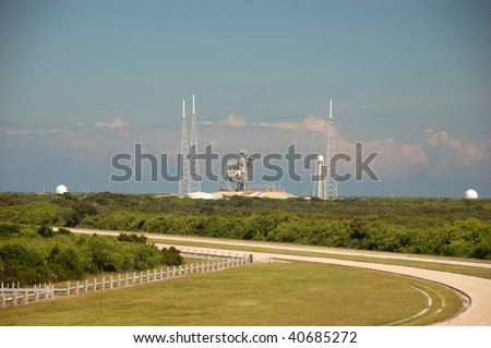 ORLANDO - OCTOBER 1: Visit in the Kennedy Space Center, couple of days before NASA's Ares I-X rocket lift off Pad 39B which is the first vehicle since Apollo's Saturn rockets were retired on October 1, 2009 in Orlando, FL. - stock photo