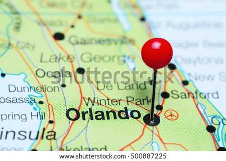 Orlando Pinned On Map Florida Usa Stock Photo Shutterstock - Map of florida usa