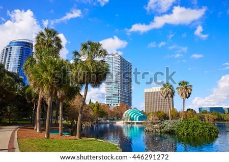 Orlando skyline from lake Eola in Florida USA - stock photo