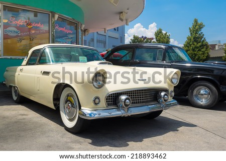 ORLANDO,USA - AUGUST 23, 2014 : 1956 Ford Thunderbird antique car at Universal Studios Florida theme park