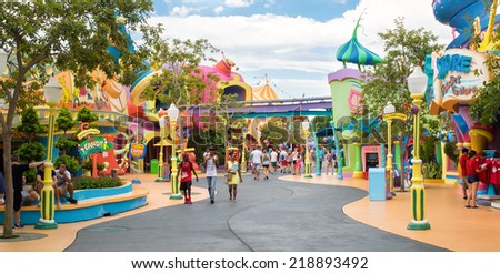 ORLANDO,USA - AUGUST 24, 2014 : Visitors at the Seuss Landing Area inside Universal Studios Islands of Adventure theme park - stock photo