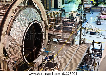 ORLANDO, USA - JULY 25: assembly of the ISS Space modules in the Kennedy Space Center  on July 25, 2010 in Orlando, USA. - stock photo