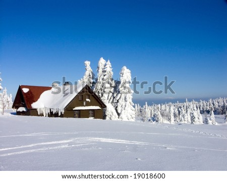 Orlicke mountains, Czech Republic, a perfect place to have a White Christmas or to celebrate the New Year ! - stock photo