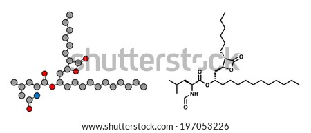 Orlistat obesity drug, chemical structure. Conventional skeletal formula and stylized representation, showing atoms (except hydrogen) as color coded circles.  - stock photo