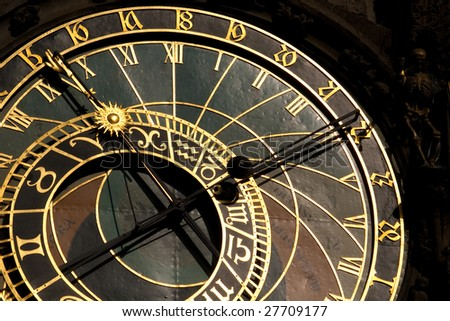 Orloj. Famous astronomical clock in Prague, Czech Republic.