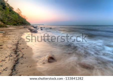 Orlowo cliff at Baltic sea in Poland - stock photo