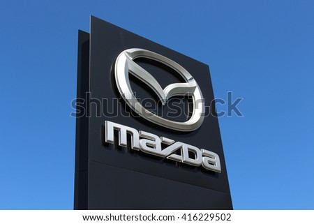 ORMESSON SUR MARNE, FRANCE - MAY 5, 2016: Mazda sign. Mazda Motor Corporation is a Japanese automotive manufacturer