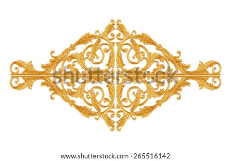 Ornament elements, vintage gold floral designs for decorative - stock photo