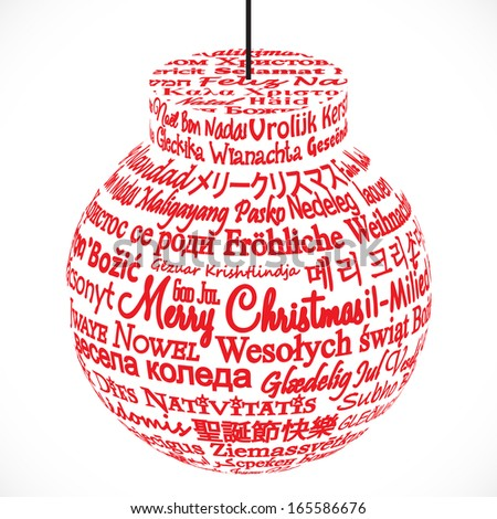Ornament Made from Merry Christmas Translations - stock photo