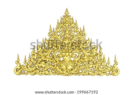 Ornament of gold plated vintage floral ,thai art Style