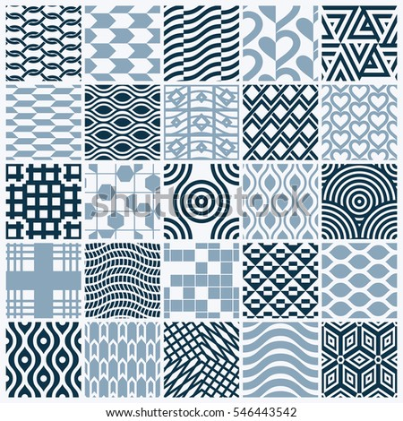 ornamental black and white seamless backdrops set, geometric patterns collection. Ornate textures made in modern simple style.