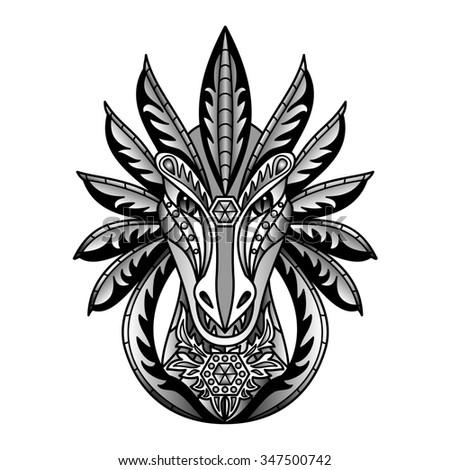 Ornamental Black Dragon. Illustration for textile prints, tattoo, web and graphic design - stock photo