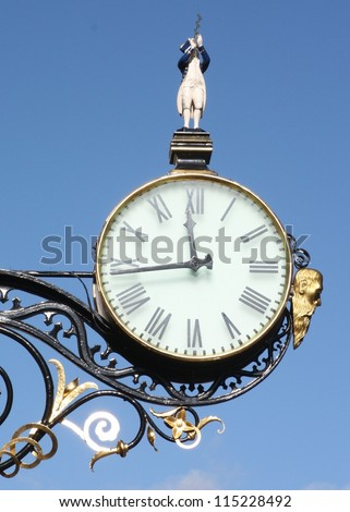 Ornamental clock in Coney Street, York, Yorkshire, UK - stock photo