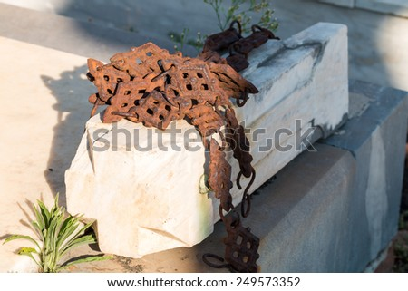 Ornamental details present on the graves of the cemeteries in Sicily - stock photo