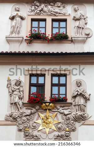 ornamental facade of a historical building in the UNESCO protected old town of Prague, Czechia - stock photo