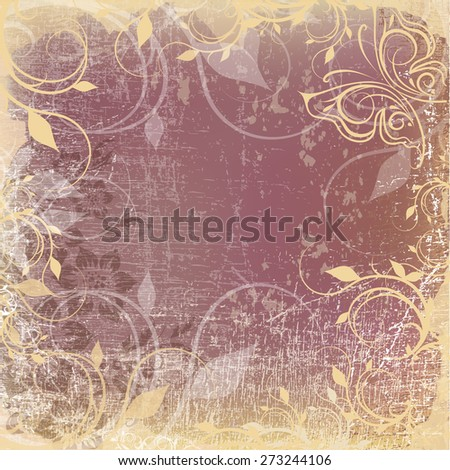 Ornamental floral pattern with place for your text, in grunge background - stock photo