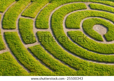 Ornamental garden with maze, France - stock photo
