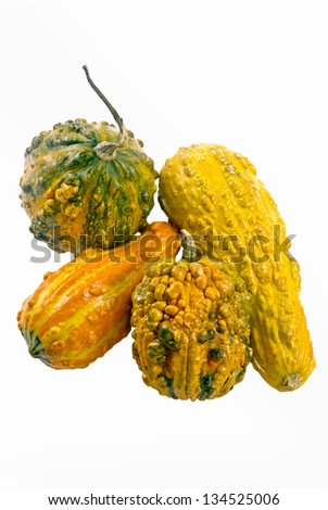 Ornamental gourds on an isolated white background.