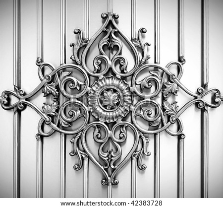 ornamental on metal background - stock photo