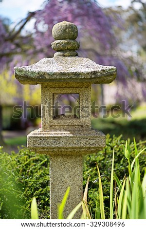Ornamental sculpture in Japanese Gardens - stock photo
