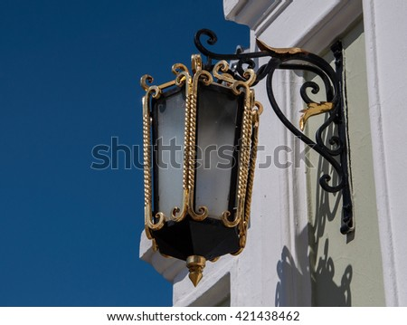 Ornamental wrought iron lantern in Kazan Kremlin, Tatarstan, Russia - stock photo