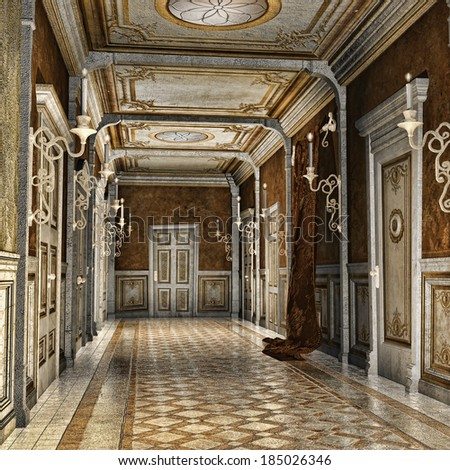 Ornamented corridor in a fantasy palace - stock photo