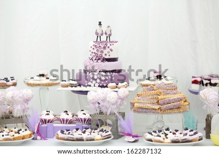 ornaments and decorations wedding table sweets - stock photo