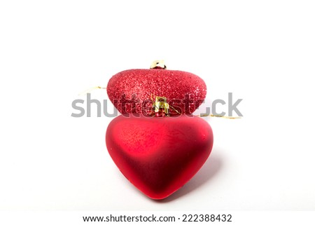 ornaments for the Christmas tree, red hearts