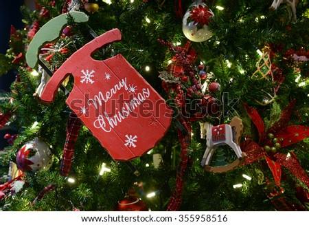 Ornaments on Christmas tree - stock photo