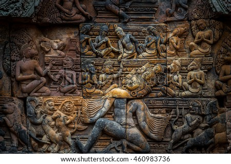 Ornate bas-relief on the exterior of the temples of Banteay Srei in Siem Reap, Cambodia.