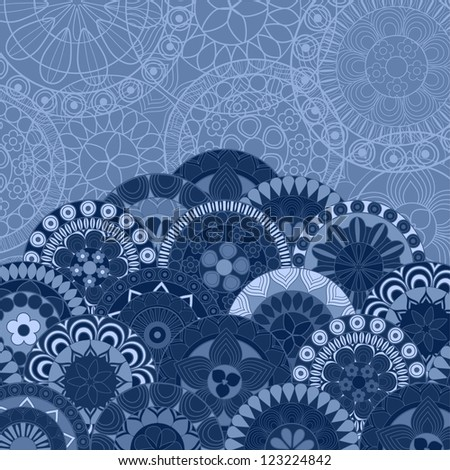 Ornate blue background with copyspace - raster version - stock photo