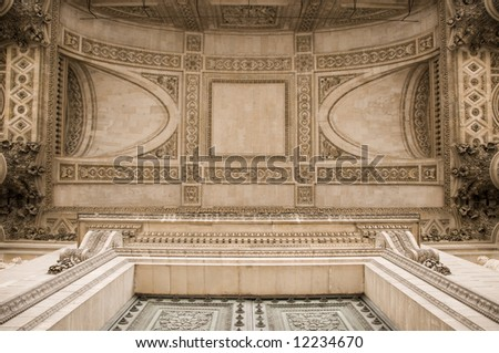 Ornate ceiling of the Pantheon in Paris - stock photo