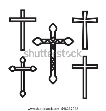 Ornate christian cross art illustration set