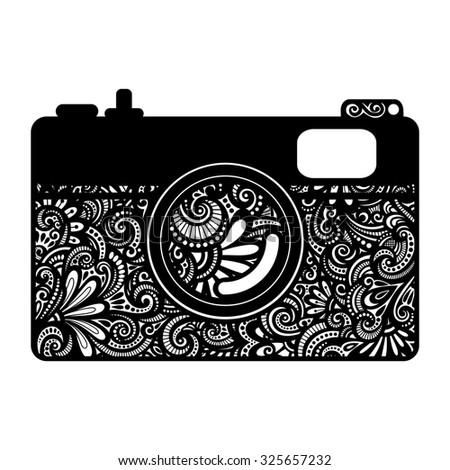 Ornate Decorative Photo Camera Isolated of White Background - stock photo