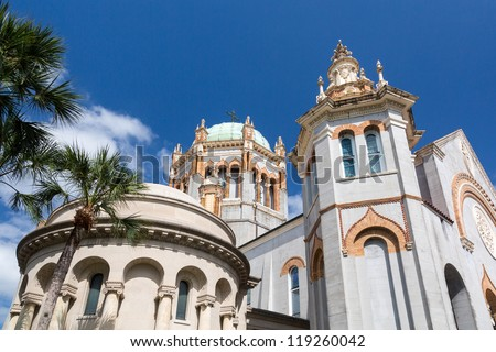 Ornate dome and tower of Memorial Presbyterian Church built Henry Flagler in St Augustine Florida - stock photo