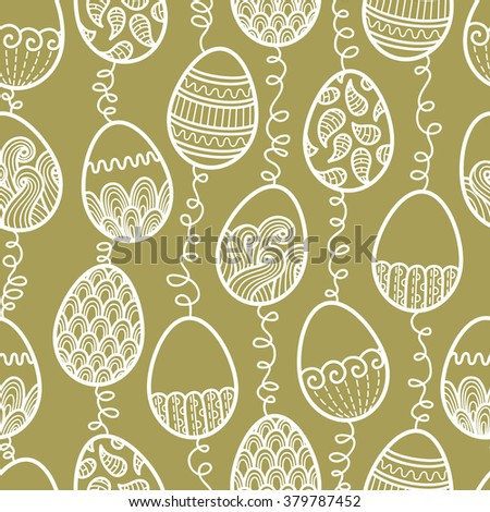 ornate Easter pattern. rasterized copy of seamless doodle easter pattern with Easter eggs - stock photo
