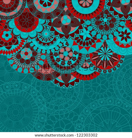 Ornate ethnic background with copy space - raster version - stock photo