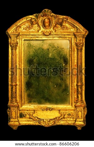 ornate frame with dusty mirror - stock photo