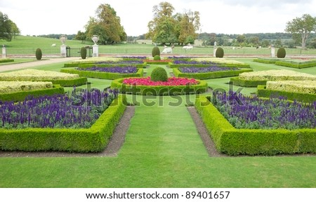 Ornate garden in the grounds of a country house - stock photo