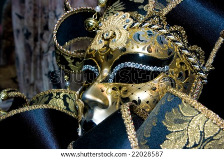 Ornate handmade venetian mask on black background