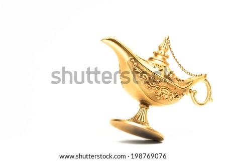 Ornate Magic lamp of Aladdin isolated - stock photo