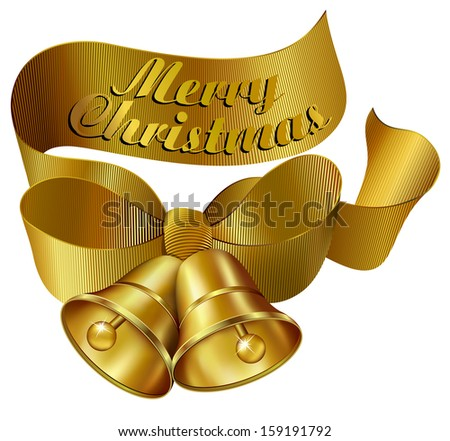 Ornate Merry Christmas Bells with Ribbon - Raster Version - stock photo