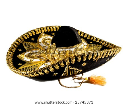 Ornate Mexican hat with lots of gold trim - stock photo
