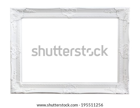 Ornate painted picture frame isolated on white - stock photo