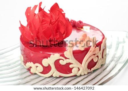 Ornate red velvet cake - stock photo