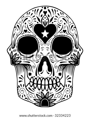 ornate sugar skull image - stock photo