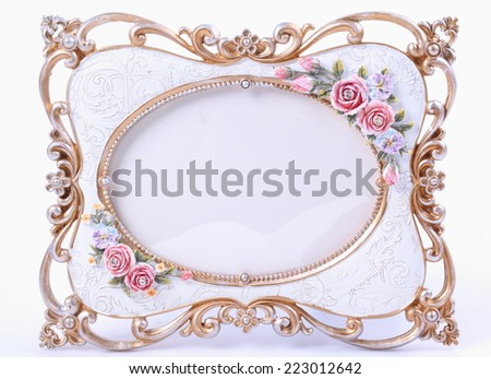 Ornate vintage frame isolated on white background - stock photo