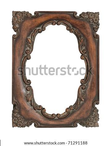 Ornate vintage frame isolated over white background - stock photo