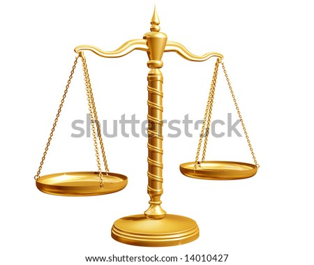 Ornate weighing scales isolated on a white background